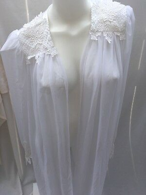 Vntg Flora Nikrooz S *Stunning Robe Bridal Lingerie Lace Honeymoon Sheer Chiffon