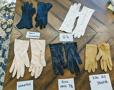 Lot of 5 Pairs Women's Vintage Gloves Beaded Navy Leather Gold More!