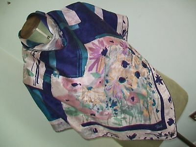 PATOLY LARGE Beautiful vintage silk head scarf HAND ROLLED EDGES 100% SILK