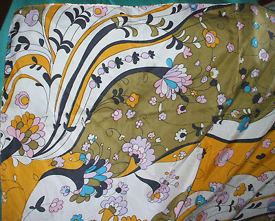 Large Vintage Silk Scarf Silk Headscarf, Hand Rolled Edges