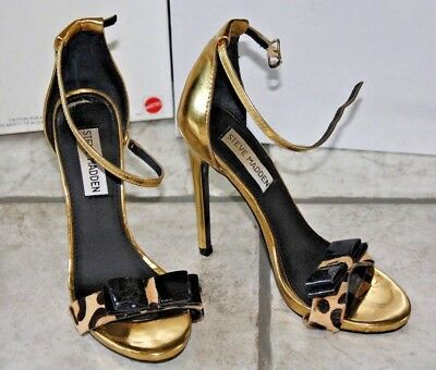 4ab1cb7c10f STEVE MADDEN GOLD High Heels Strappy Metallic with Rhinestones Size ...