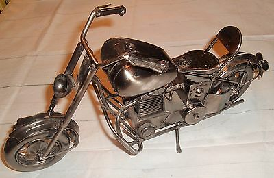Man Cave Motorcycle Steel gray chopper Metal Sculpture Art Decor