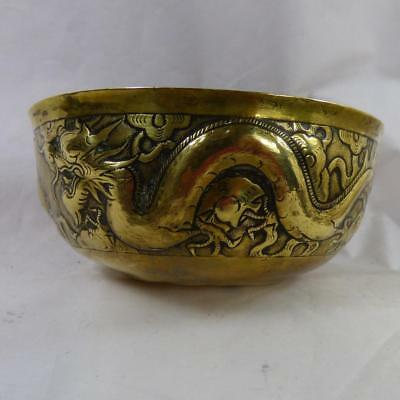 Antique Oriental JAPANESE dragon bowl VINTAGE  brass