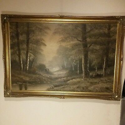 Beautiful Vintage/ Antique Signed Oil On Canvas, Large