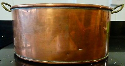 Antique Vintage Large Oval Copper Pan With Two Brass Handles