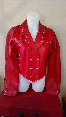 Vintage 1980's red leather womens jacket, size medium