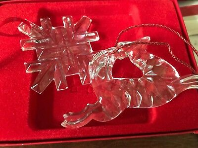 Set of 3 GORHAM HOLIDAY SNOWFLAKE + Reindeer + Bell  crystal Ornaments; one box