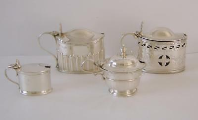 Four English Sterling Silver Mustard Pots 1887 - 1932  Silver Weight 275 gms