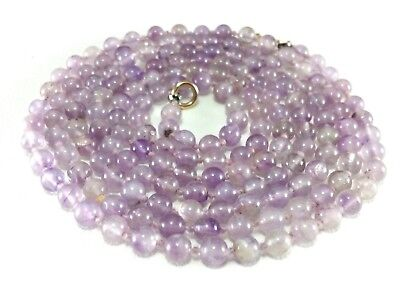 """Vintage Hand Knotted 4 Mm Natural Purple Amethyst Bead 35"""" Necklace 16.6 Grams"""