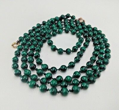 """Vintage 4 Mm Natural Malachite Hand Knotted Bead 34"""" Necklace 21.9 Grams"""