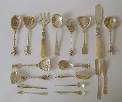 A Collection Of Solid Silver Spoons, Solid Silver Cutlery, + One Plated Spoon
