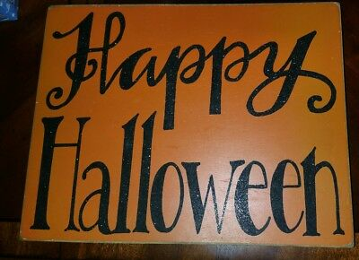HAPPY HALLOWEEN Rustic Vintage Shabby Chic Sign ORANGE AND BLACK Wood Plaque