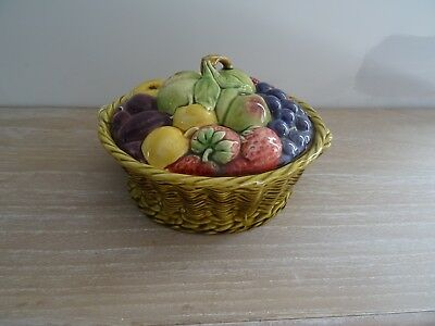 Ancien Panier Fruits En Barbotine Sarreguemines