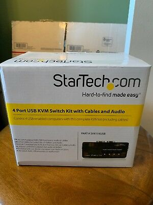 StarTech.com 4 Port Black USB KVM Switch Kit with Cables and Audio - KVM / audio