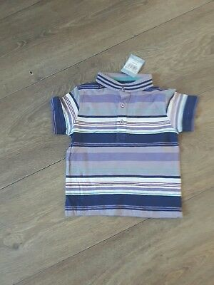 Baby Boys Purple Stripe  Polo T- Shirt Short Sleeved Age 18/24 Months ( New)