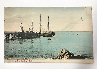 Hand Tinted Postcard - Bay of New Monterey - Monterey, CA - Masted Ship