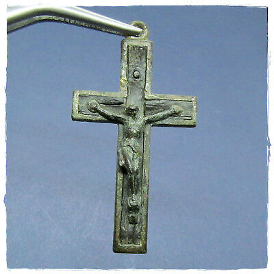 **  CROSS ** ANCIENT BYZANTINE or MEDIEVAL BRONZE-WOOD PENDANT!!! R A R E