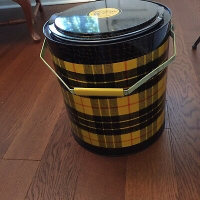 Vtg Yellow Plaid 4 Gal. TARTAN TOTER Hot or Cold Picnic Basket Cooler Thermos