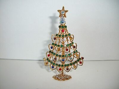 "Rhinestone Christmas Tree Pin Brooch ~also stands up for display 3"" tall"
