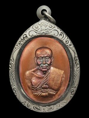 Lp Thuad Wat Changhai Thai Amulet Buddha Patiharn Eod Be.2556 Copper No.4591