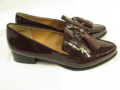 be3cd5ba3de Tahari looker almond toe burgundy patent leather loafers flats shoes US 7.5M