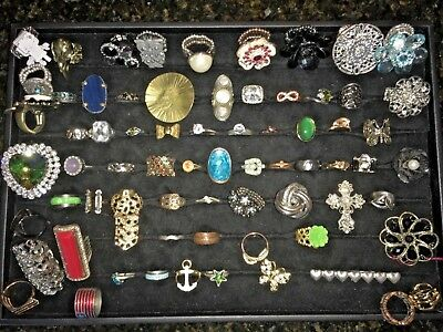 Estate Junk Drawer Lot of Over 70 Vintage Costume Jewelry Rings