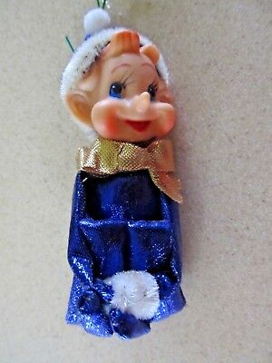 Vintage knee hugging elf pixie  blue shiny sparkly Christmas ornament decoration