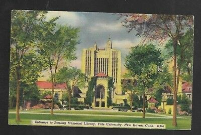 Vintage Postcard Linen Sterling Memorial Library Yale University New Haven CT
