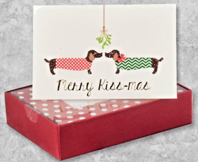 """Boxed Set of 16 Dachshund Dog Holiday """"Merry Kiss-mas & a Happy New Year"""" Cards"""
