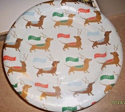 Set of 16 Dachshunds Doxie Sausage Dog Festive Christmas Holiday Paper Plates