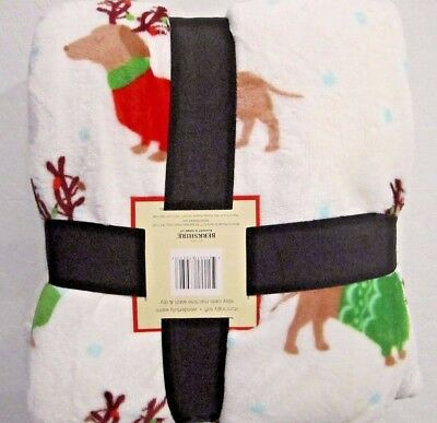 """Reindeer Dachshund Doxie Sausage Dogs Christmas Holiday Blanket Throw 50"""" x 60"""""""