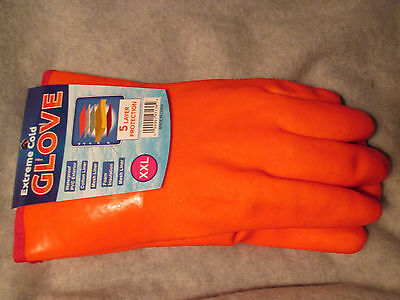 1 PVC ORANGE 5-Layer EXTREME COLD WINTER WEATHER Gloves Protection MEN's XXL USA