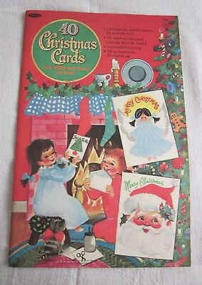 Vintage Children's 40 Christmas Cards To Make,Punch Out Red Flocking 1965 Unused