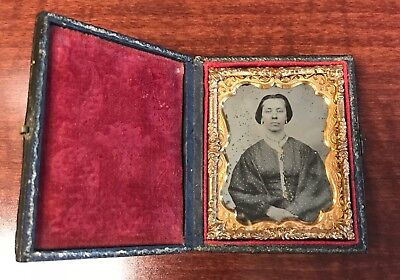 9th Plate Ruby Ambrotype of a Woman with Sentiment Written Inside Full Case