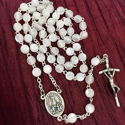 FATIMA HOLY SPIRIT rosary mother of pearl made in Poland of Italian parts 17.5""