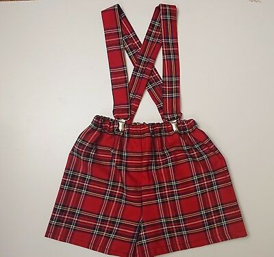 Boys Red Tartan Print Baby's Shorts with braces Boys Christmas clothes New
