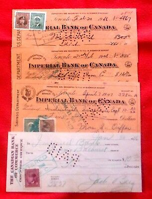 Lot of 4 Vintage Canada Banking Cheques from 1946-47 from Toronto with Stamps