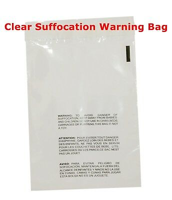 200 11x14 Clear Self Seal Lip & Tape Plastic Bags w/ Suffocation Warning