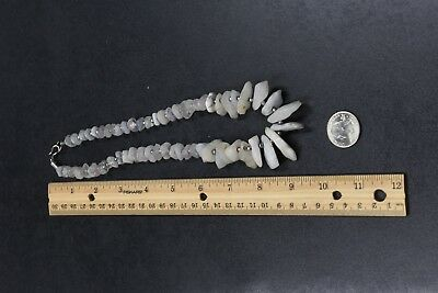 Vintage Large Graduated Quartz Chip & Silvertone Bead Necklace Chunky Old Stone
