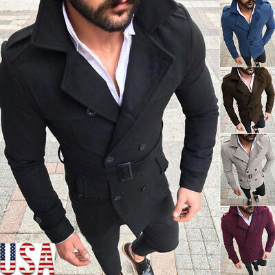 Men's Thicken Trench Coat Double Breasted Long Jacket Outwear Overcoat Peacoat Y