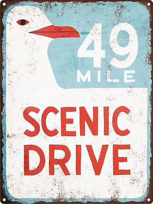 49 mile scenic drive highway street road Metal Sign Man cave 9x12 SS109