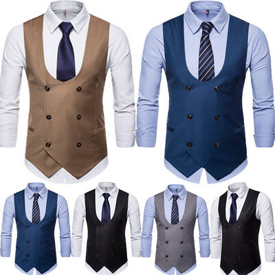 Men's Formal Casual Business Dress Vest Suit Slim Tuxedo Waistcoat Coat #