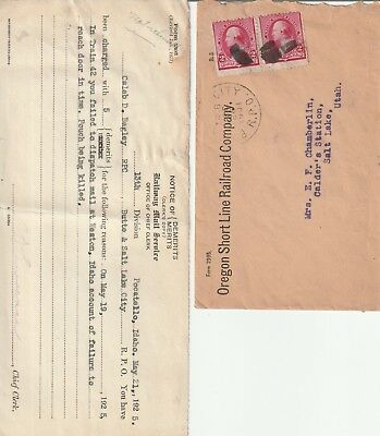 Two Oregon Shortline Railroad Butte Weston Idaho Salt Lake 1925 Demerits + Rpo