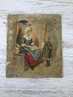 Antique Children's Book Goody Two Shoes Linen Great Pictures 1898 Nursery Book