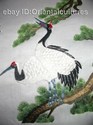 Chinese totally 100% hand su silk embroidery art:cranes pinetree 8""