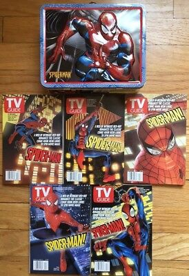 SPIDERMAN TIN LUNCH BOX & TV GUIDE - SPIDERMAN - Lot of 5, APRIL 27, 2002
