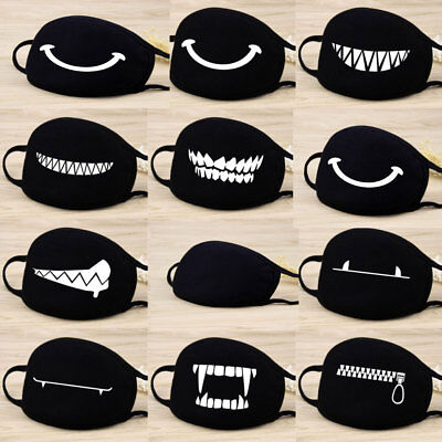 Adults Black Cute Anime Emoticon Mouth Muffle Anti Dust Korea Cotton face mask