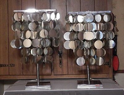 Vintage Pair of 1960's Retro Silver Disk Capiz Shell Lamps - Mid Century-HIPPIE