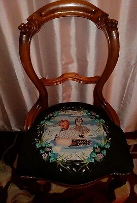 Antique Swedish Parlor Chair Carved Wood & Needlepoint Of Duck's  BEAUTIFUL!