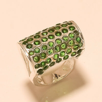 Russian Chrome Diopside Gemstone Silver Tone Ring Antique Old Women Jewelry Gift